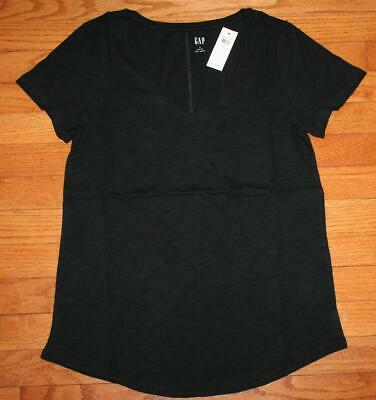 NEW NWT Womens GAP 100% Cotton V-Neck Easy Tee T-Shirt Black $16 Size Small *W5