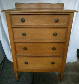 1930s Solid Oak Tallboy (on casters)