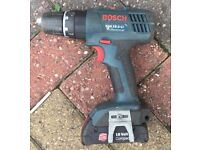 BOSCH 18V LI-ION CORDLESS DRILL DRIVER WITH BATTERY (1.3AH). NO OFFERS