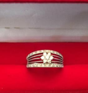 Natural Diamonds in 14K  White Gold Ring (Size 8) with stunning Design  O