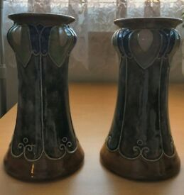 lovely pair of royal doulton art nouveau vases with number 7821 imprinted on each base