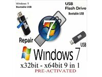 Windows 7 Recovery Repair Restore Bootable Usb Stick 32bit & 64bit (No key needed)