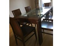 Dark Wood & Glass Table & 6 Matching Chairs FREE DELIVERY 298