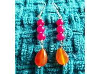 Ruby & Carnelian Sterling Silver Stud Drop Earrings