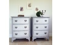 Vintage Pair Bow Front Chest of Drawers/Cabinets
