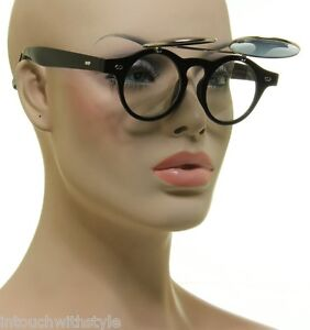 Vintage-Round-1950s-Mens-or-Womens-Flip-Up-Steampunk-Sunglasses-Black-or-Brown