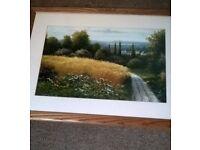 Framed country scene print