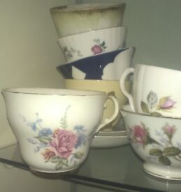 Mismatched vintage china tea cups and saucers x50 perfect for shabby chic wedding or party