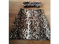 Leopard print tailored skirt & headband best fit sz 8-10 (sz small) highwaisted very flattering on.
