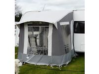 Well used Trio Mini porch awning with metal poles ideal for the quick weekend away.