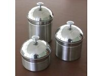 Set of three Stainless steel Kitchen Storage Canisters