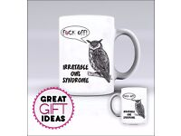 Rude Irritable Owl Syndrome Sarcastic Mug / Mugs - Add Any Name of Your Choice