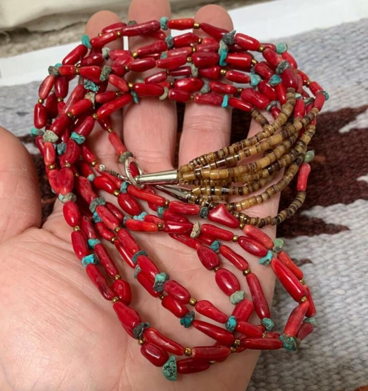 """Multi-strands pen shell heishi/coral/turquoise nugget necklace//24"""" (t316c-w2.5)"""