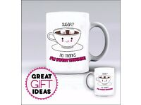 SUGAR, PRINCESS, OWL- Cute Funny Rude Mug / Mugs - Add Any Name of Your Choice