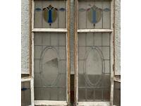 SOLD Antique Stained Glass Windows, 175cm tall 63cm wide!