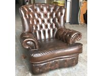 Antique Brown leather Chesterfield Wingback monks chair WE DELIVER UK WIDE