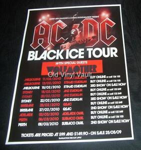 ac dc concert poster australia 2010 black ice tour new a3 size repro ebay. Black Bedroom Furniture Sets. Home Design Ideas