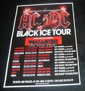 ac dc concert poster australia 2010 black ice tour new a3 size repro ebay. Black Bedroom Furniture Sets. Home Design Ideas