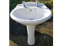 Bathroom Suite - Toilet and Sink/Wash Basin (White)