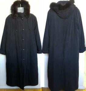 Womens LARGE 12 14 Long Black Winter Coat OAKVILLE Real Fur trimmed Hood Tall