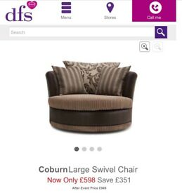 Swivel sofa , brand new from DFS