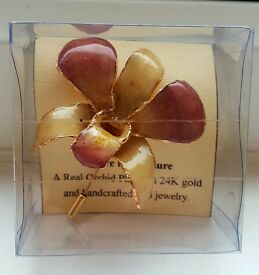 Vintage brooch/pin real orchid coated in 24ct plate beautiful never worn