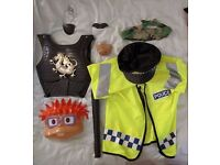 Range of Kids Fancy Dress Clothing inc. Police Uniform, Face Mask and Solider Breast Plate