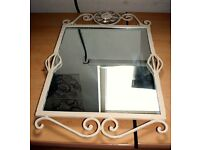 "White Shabby Chic Iron/Glass Mirror Comes In VGC (Size Approx. 16"" X 24"")"
