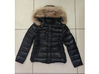 Moncler Armoise Ladies Moncler 100% Down Real Raccoon Fur Detachable Hood Black Jacket Coat