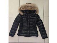 Moncler Armoise Ladies Moncler 100% Down Real Raccoon Fur Detachable Hood Black Jacket Coat