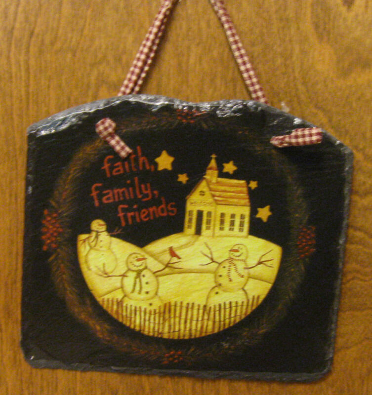 "SLATE Wall Hanging #45634 6.75"" x 7.75"" Snow Scene on Slate with hanging string"