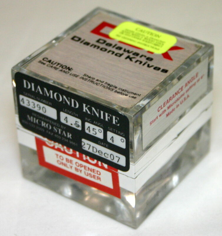 DELAWARE DIAMOND KNIFE FOR ULTRAMICROTOMY TYPE SU 4.5MM LENGTH 45 DEGREE ANGLE