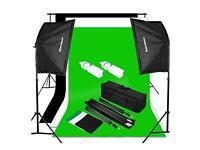 Green Screen - 125W Soft Box Lights - White Backdrop