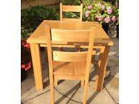 Solid Oak 2 Seater Dining Table & Chairs, Excellent.