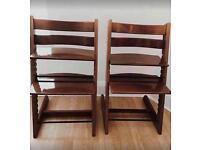 2 x Tripp Trapp High Chairs (Walnut)