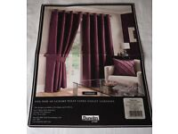 AUBERGINE FULLY LINED EYELET CURTAINS