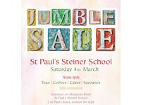 Jumble Sale Islington N1 – St Paul's Steiner School Saturday 4TH March