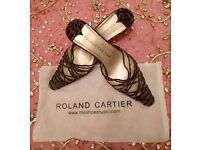 "Nearly New ""Roland Cartier"" Mule. Kitten Heel Leopard Print Platted Design & Leather Shoes Size:41"