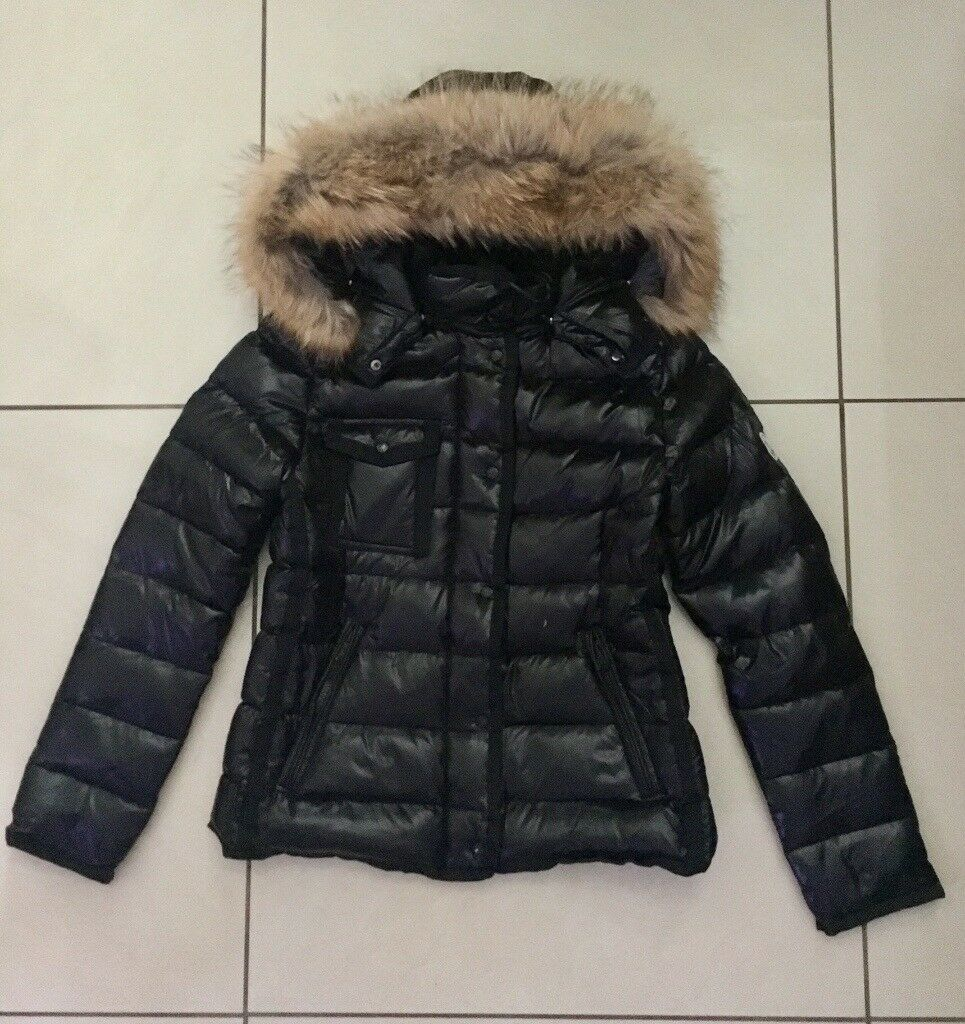 Ladies Black Moncler Armoise down Padded Racoon Fur hood Jackets