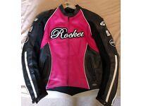JOE ROCKET LADIES LEATHER MOTORBIKE JACKET IN PINK, SMALL SIZE - LIKE NEW