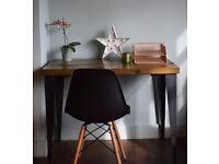 Rustic Handmade Industrial Desk & Chair Steel leg table