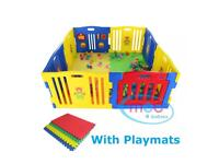 MCC Large Foldable plastic baby Playpen with Playmats