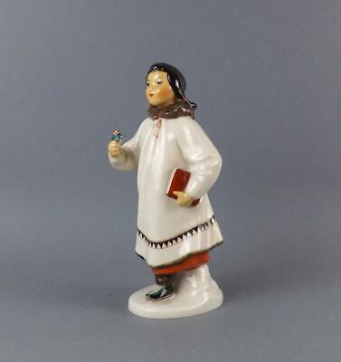 Antique Russian Soviet LFZ Figurine of Eskimo Girl with flower by S.Velihova
