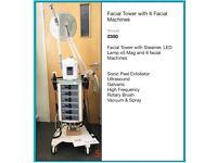 Beauty Facial Tower - 6 Facial Machines, Steamer & Mag Lamp