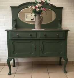 Shabby chic green Upcycled Vintage dresser with bevelled mirror.