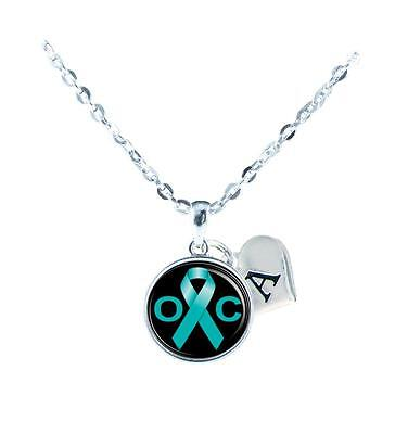 Custom Ovarian Cancer Awareness Teal Ribbon Silver Necklace Jewelry Initial