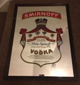Vintage Collectable Smirnoff Vodka Pub Mirror
