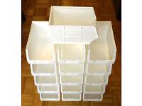 40 x Plastic Storage Bins White TC3 - Linbin Boxes Warehouse Parts Tools Barton - Fits Louvre Panels