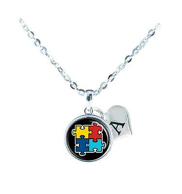 Custom Autism Awareness Black Silver Necklace Jewelry Initial Family Charm Gift - Custom Necklace Charms