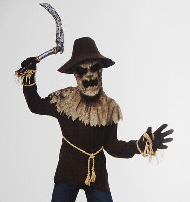 Boys Wicked SCARECROW Crow Farmer Halloween Costume Scythe Medium 8 10 Purim NEW - Farmers Costume